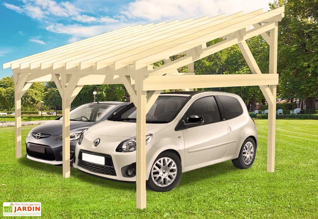 carport bois contrecoll adossable monopente 15 2 voitures 5x6m carport bois adossable. Black Bedroom Furniture Sets. Home Design Ideas