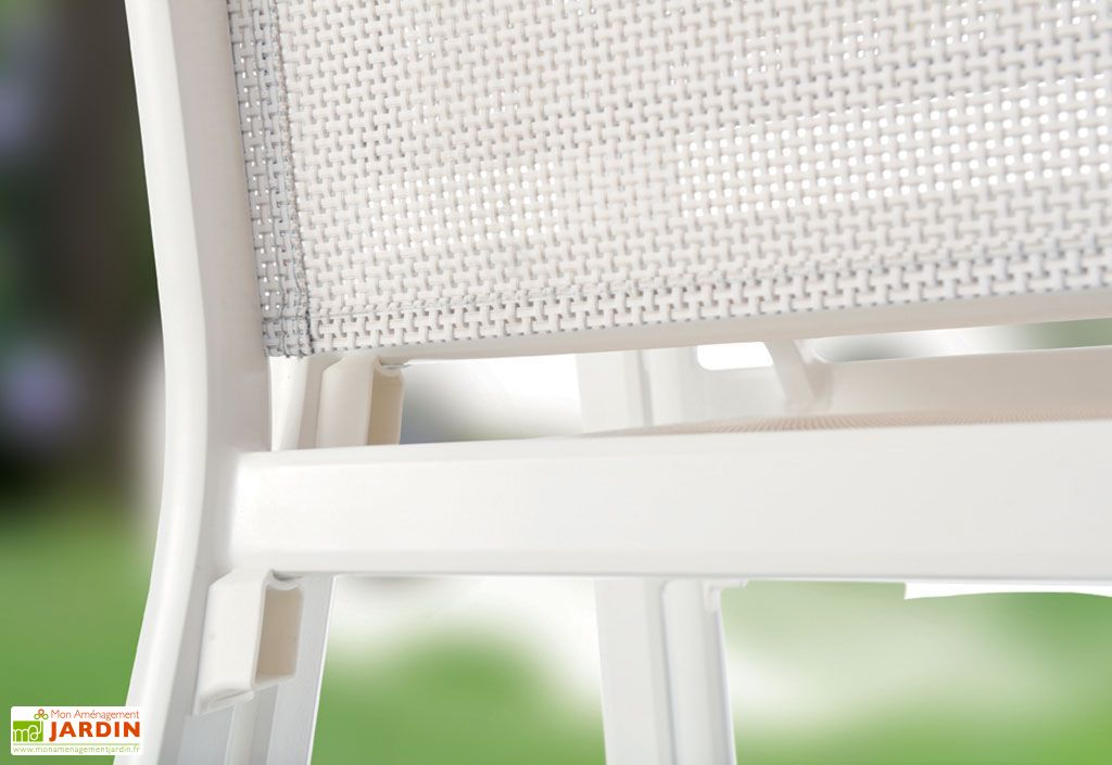 Salon de Jardin Alu avec Table Puroplan + 6 Chaises Blanc Bodega