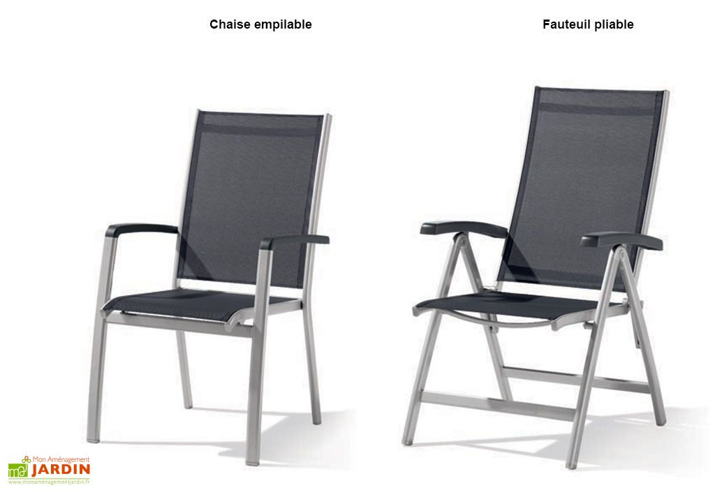 Salon de Jardin Alu avec Table Puroplan + 6 Chaises Anthracite Bodega
