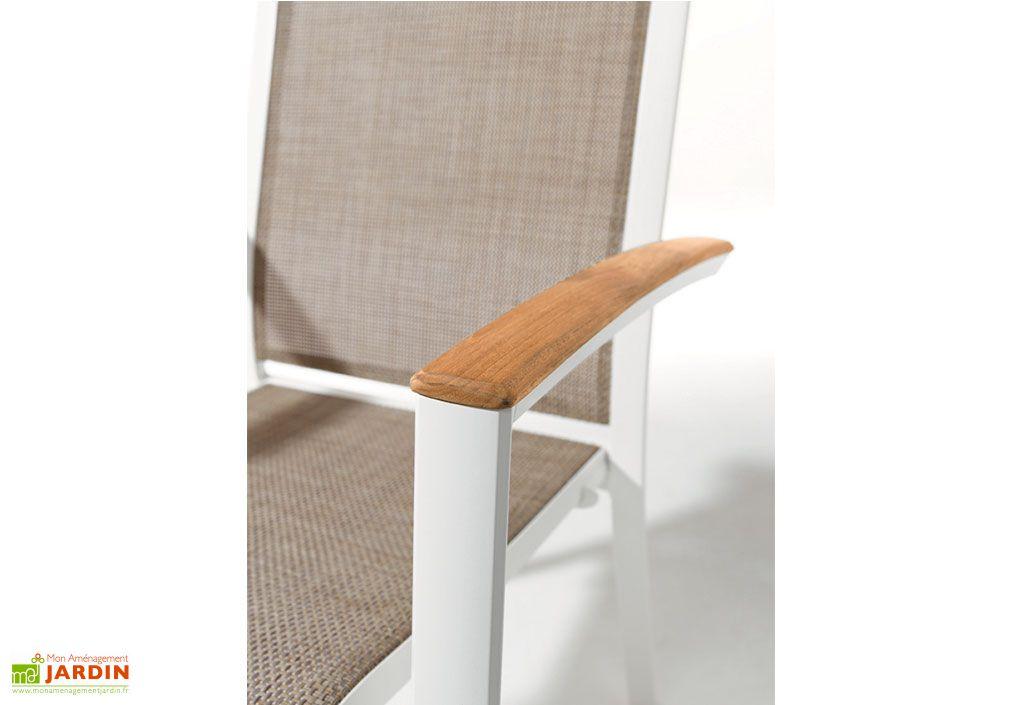 Salon de Jardin Alu avec Table Teck + 6 Chaises Blanc Catena - Sieger