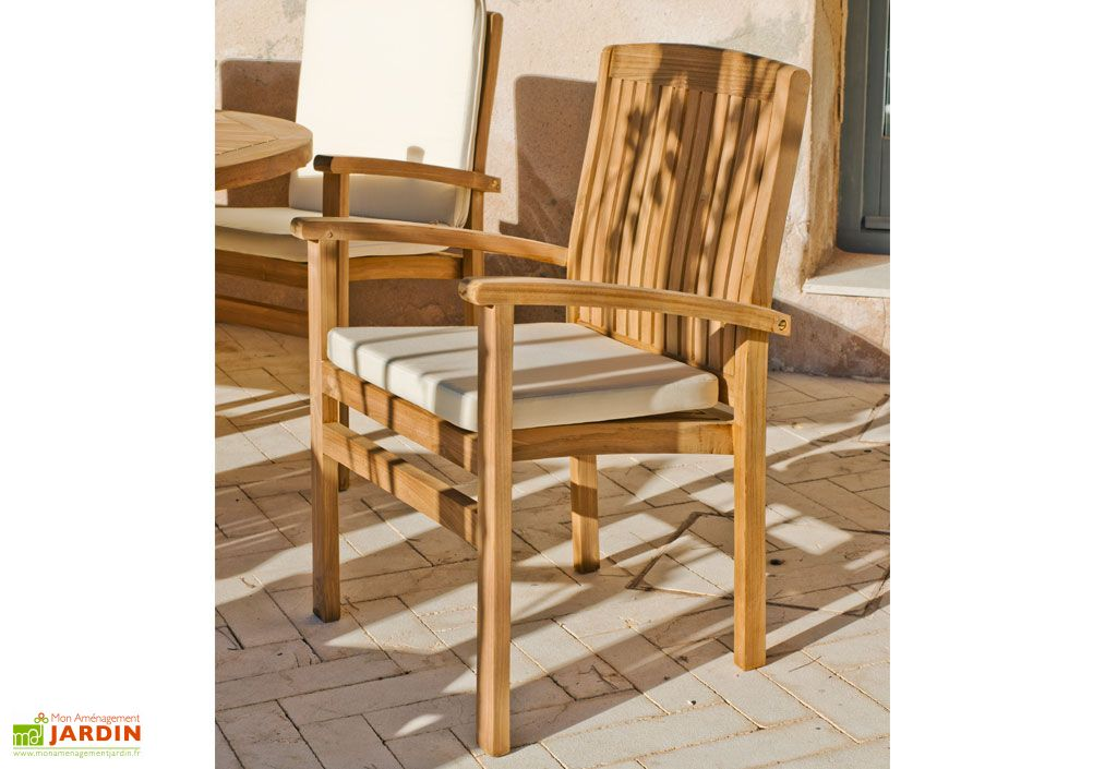 Salon de Jardin Teck Amberes 1 Table Extensible (180-300cm) + 8 F
