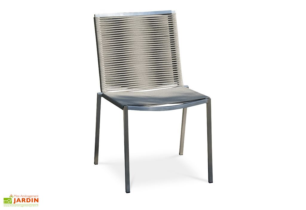 Chaise de jardin en acier inoxydable et assise en corde taupe