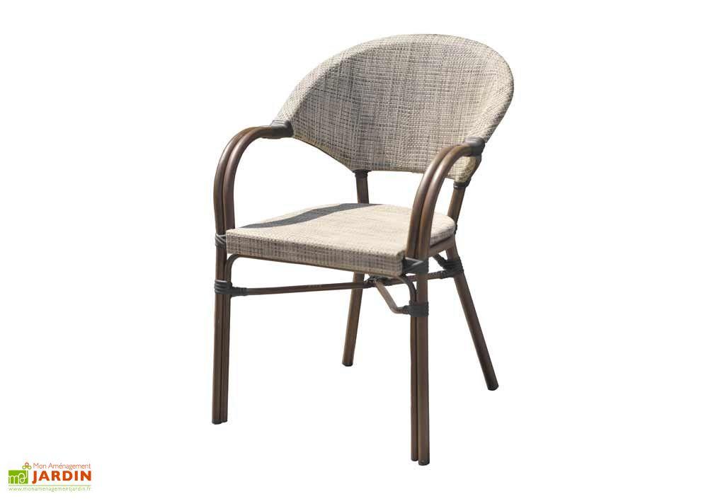 fauteuil de jardin empilable imitation bambou en aluminium