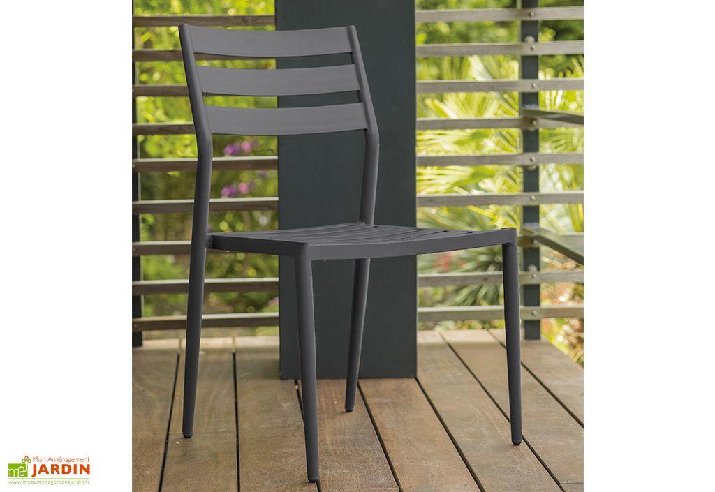 Chaise de Jardin Empilable en Aluminium Alumob Gabin Gris Anthracite