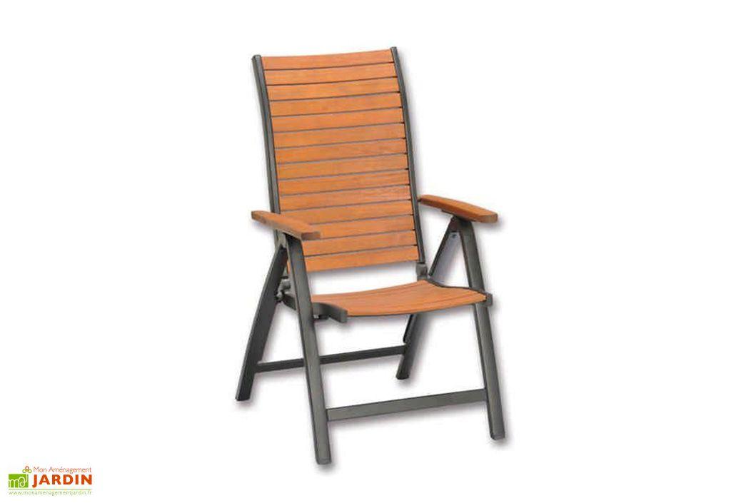 Chaise de Jardin Pliante en Bois d'Eucalyptus et Aluminium Mountfield Flamingo