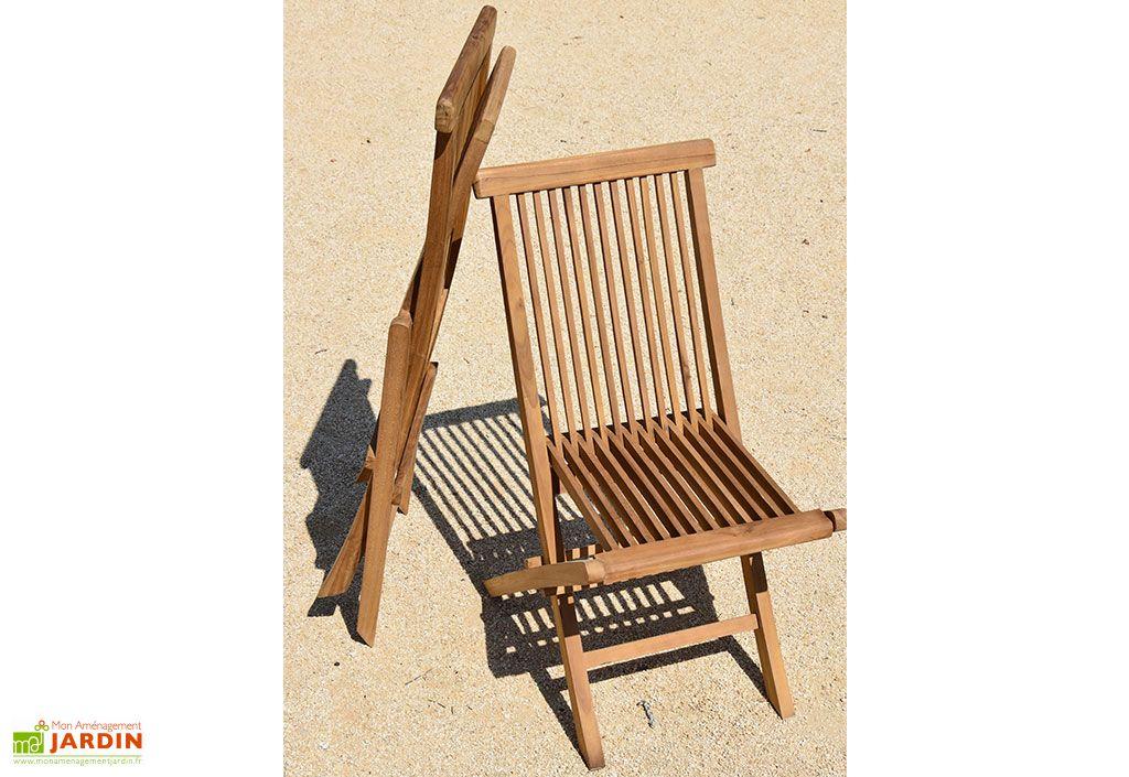Chaise de Jardin Pliante en Bois de Teck Denpasar
