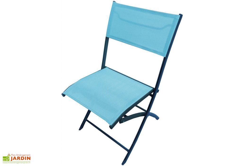 Chaise de jardin textil ne pliante turquoise dcb garden for Chaise jardin aluminium textilene