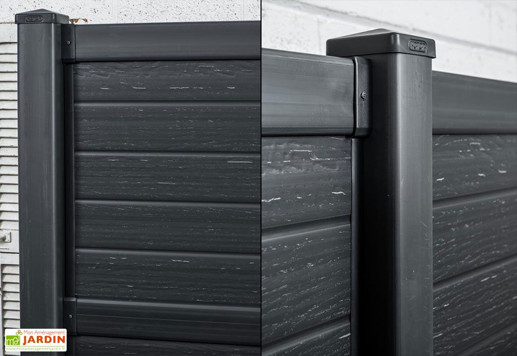 Kit Poteau en Polypropylène Aspect Bois Noir 100x12,2x12,5cm (l,l,h)