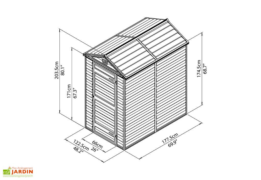 Abri de Jardin Polycarbonate Skylight Palram Gris (1,77x1,22) 2,16 m²