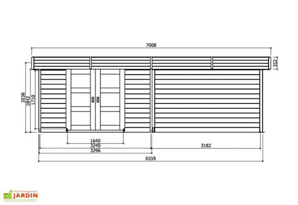 Abri de Jardin Bois Arhus 28mm (656 x 241cm)
