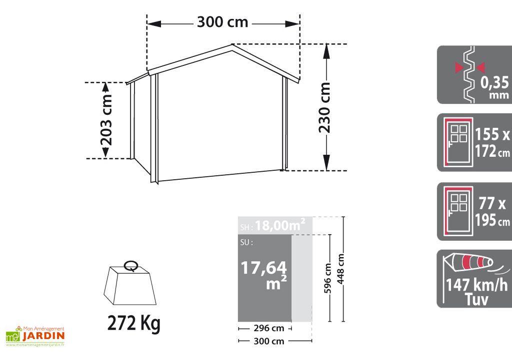Garage en Métal Hervey 4x4 (3x6x2,3) Absco Gris