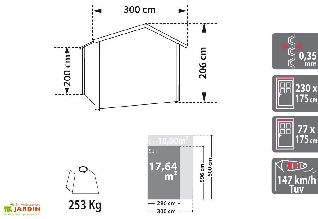 Garage Métal 1 Voiture (3x6x2) Absco