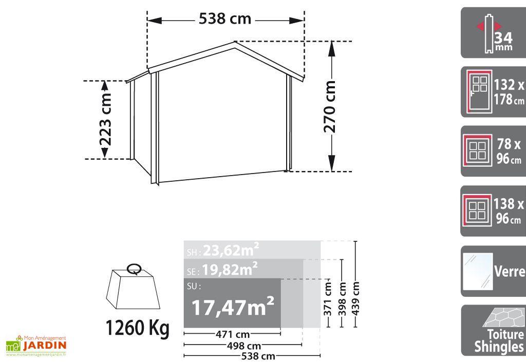 Abri de Jardin Bois Piscatoria (500x400x2,70) 34 mm