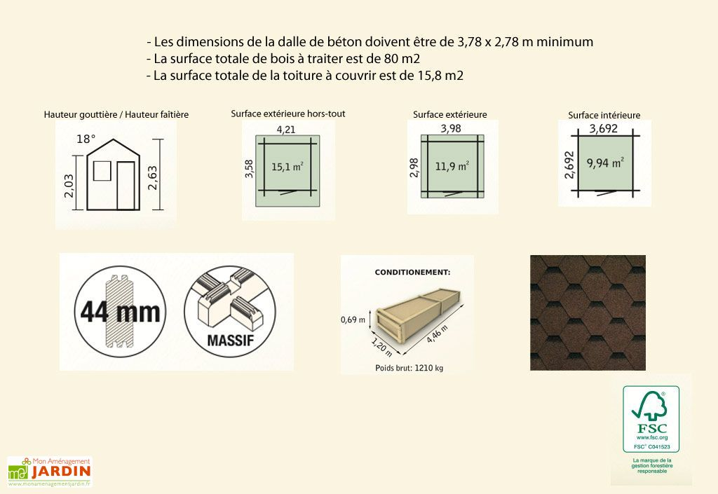 Abri de Jardin Bois Charme (398x298x263) 44 mm