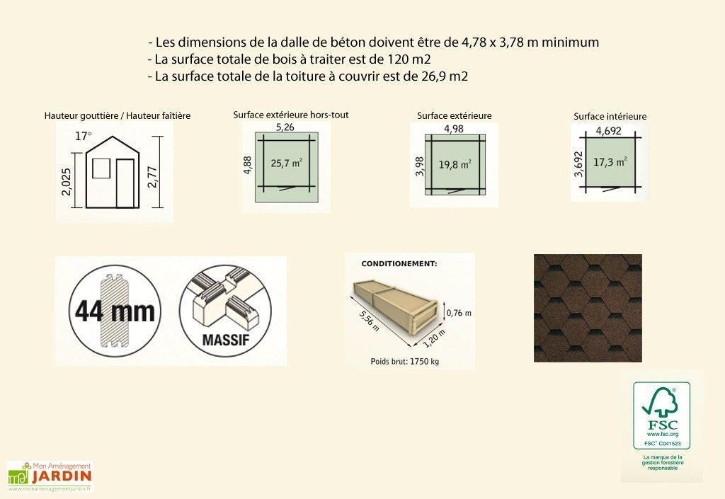Abri de Jardin Bois Murier (498x398x277) 44 mm