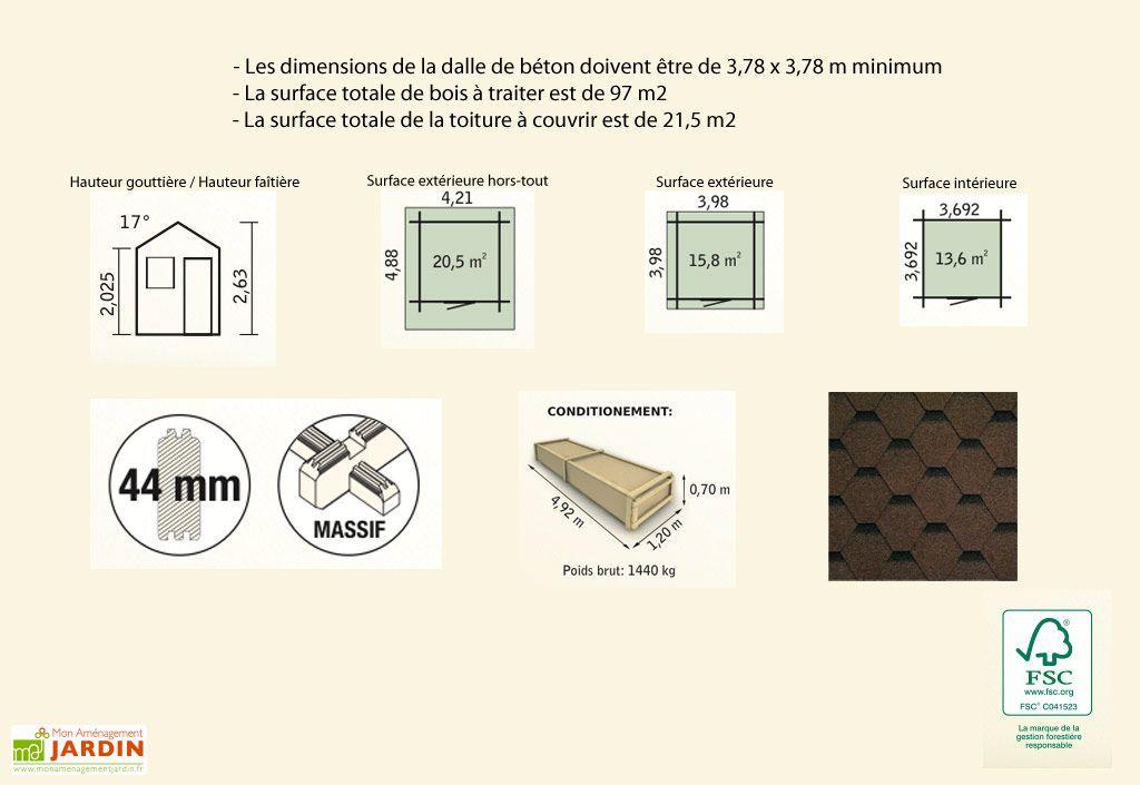 Abri de Jardin Bois Raisin (398x398x263) 44 mm