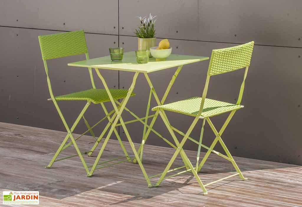 ensemble de jardin gueridon 2 chaises verts dcb garden. Black Bedroom Furniture Sets. Home Design Ideas
