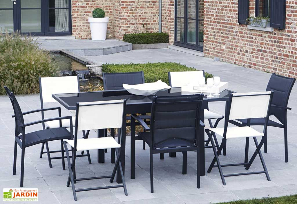 salon de jardin modulo table extensible 4 fts 4 chs. Black Bedroom Furniture Sets. Home Design Ideas