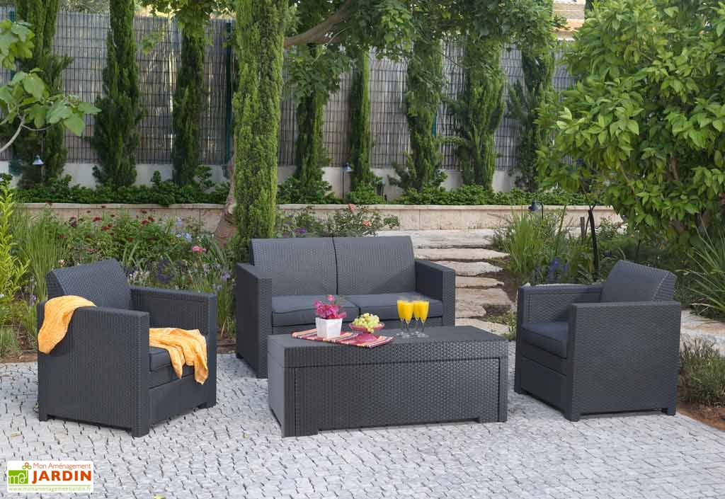 salon de jardin polypropyl ne aspect rotin tress. Black Bedroom Furniture Sets. Home Design Ideas