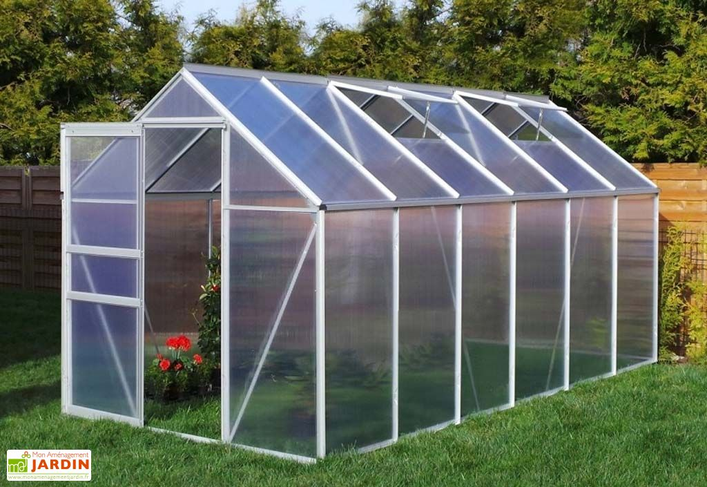 Serre Jardin en Aluminium Polycarbonate 8,17 m²- 190x430 cm