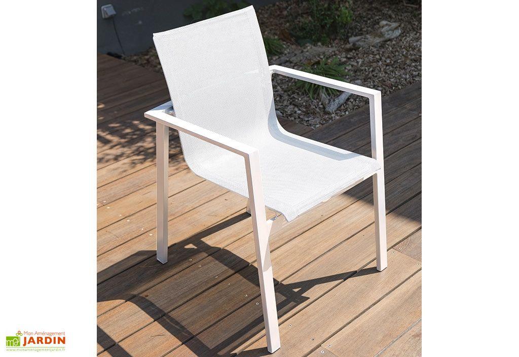 Fauteuil de Jardin Mykonos en Aluminium et Textilène Blanc - DCB Garden