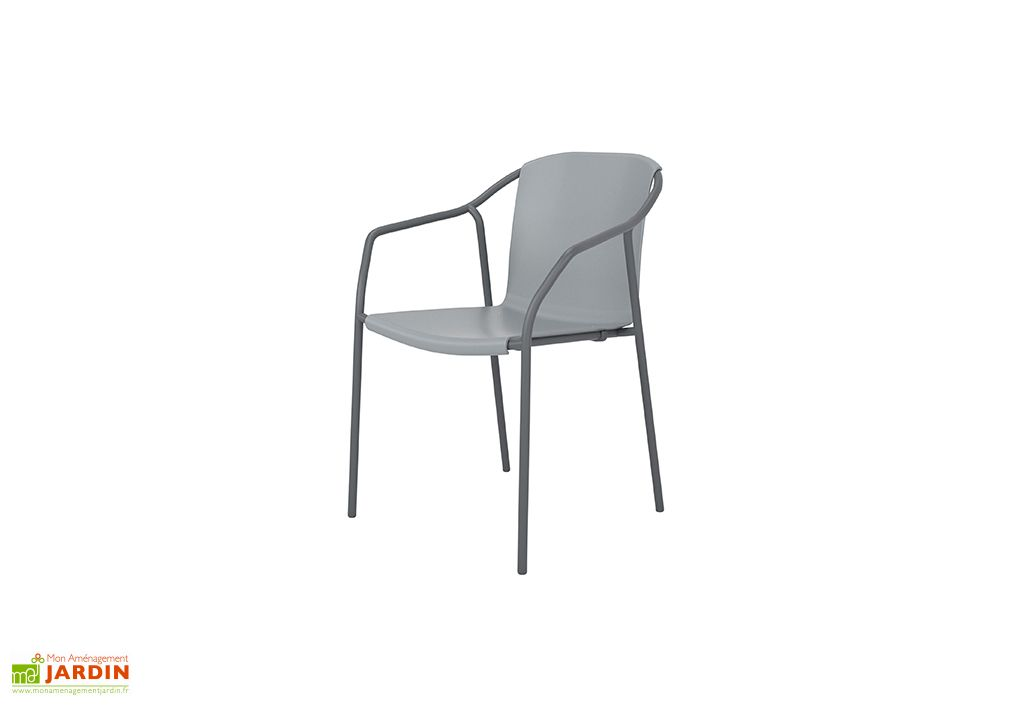fauteuil empilable en aluminium laqué