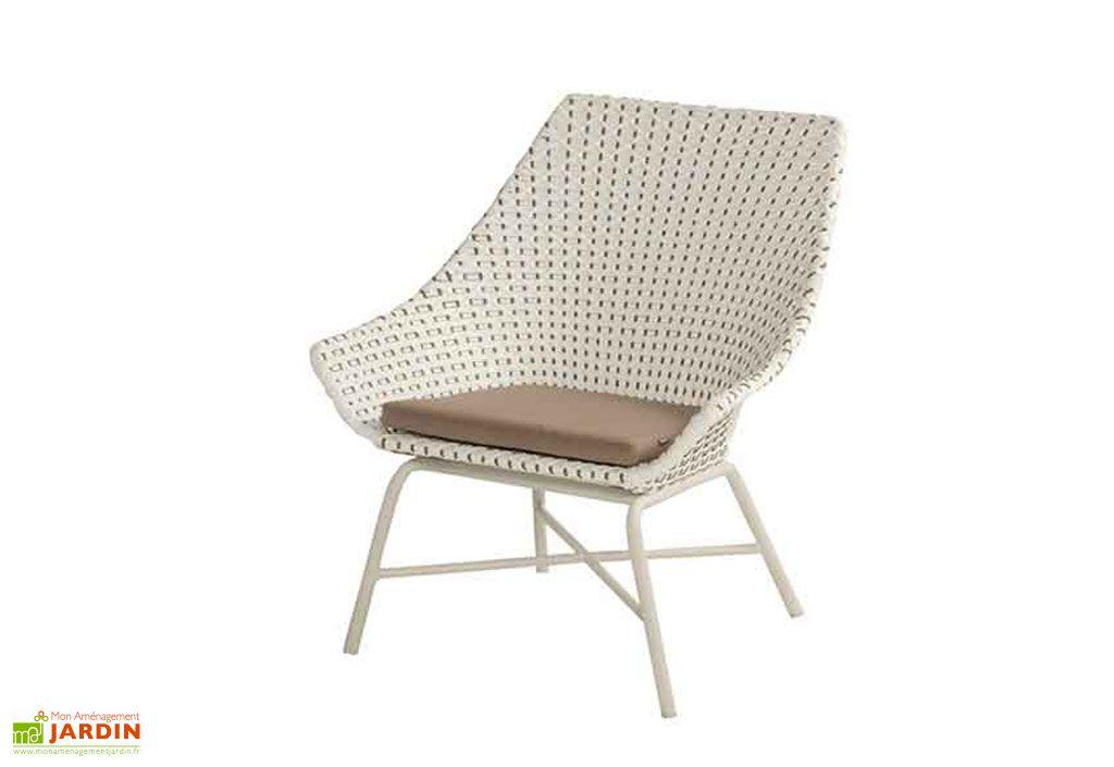 Fauteuil de jardin bas en aluminium et osier Hartman Delphine Lounge Moccacino