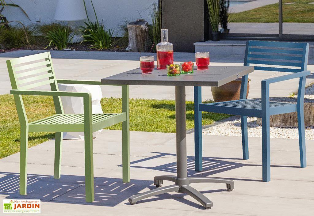 Fauteuil de Jardin Empilable en Aluminium Alumob Gaston avec Table