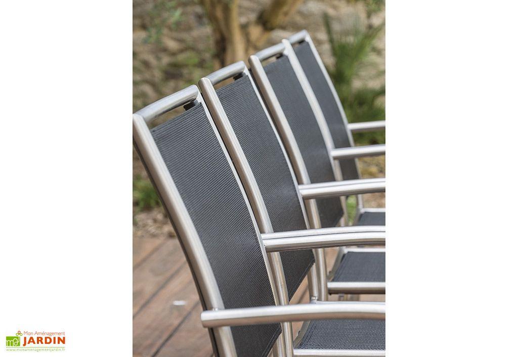 fauteuils de jardin gris en acier inoxydable et en textilène