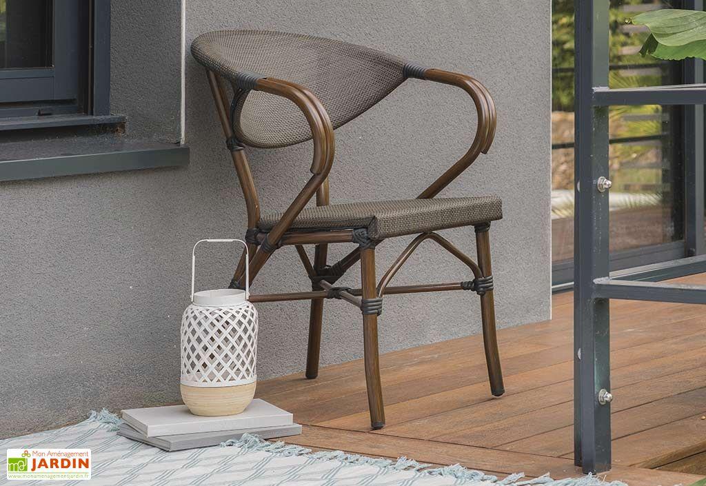 fauteuil de jardin en aluminium et textilène coloris chocolat imitation bambou