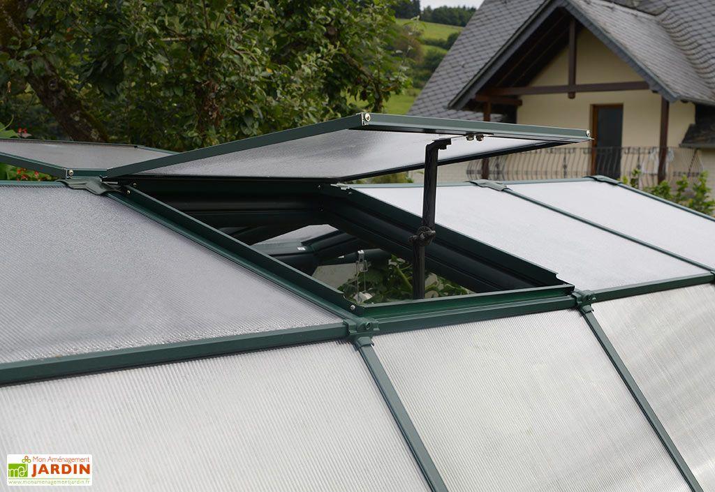 Lucarne de toit pour aération serre de jardin EcoGrow Palram verte