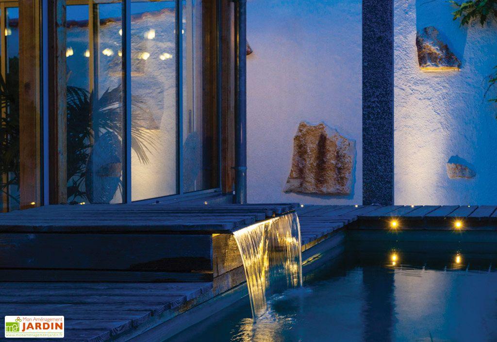 Fontaine de Jardin Lame d'Eau en Inox Seliger Aquafall 1500 Bord de Piscine