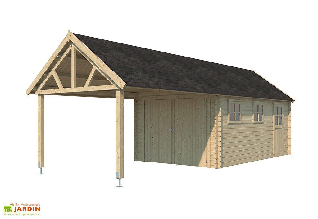 Garage en Bois d'Épicéa Toit en Shingle Gardenas Gloucester XL 28 m²