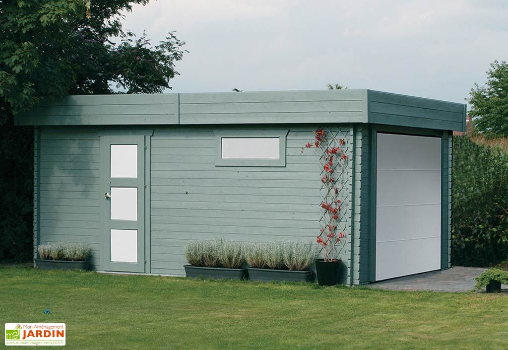 Garage Bois Moderne 40 mm (358x538cm) + Porte Motorisée