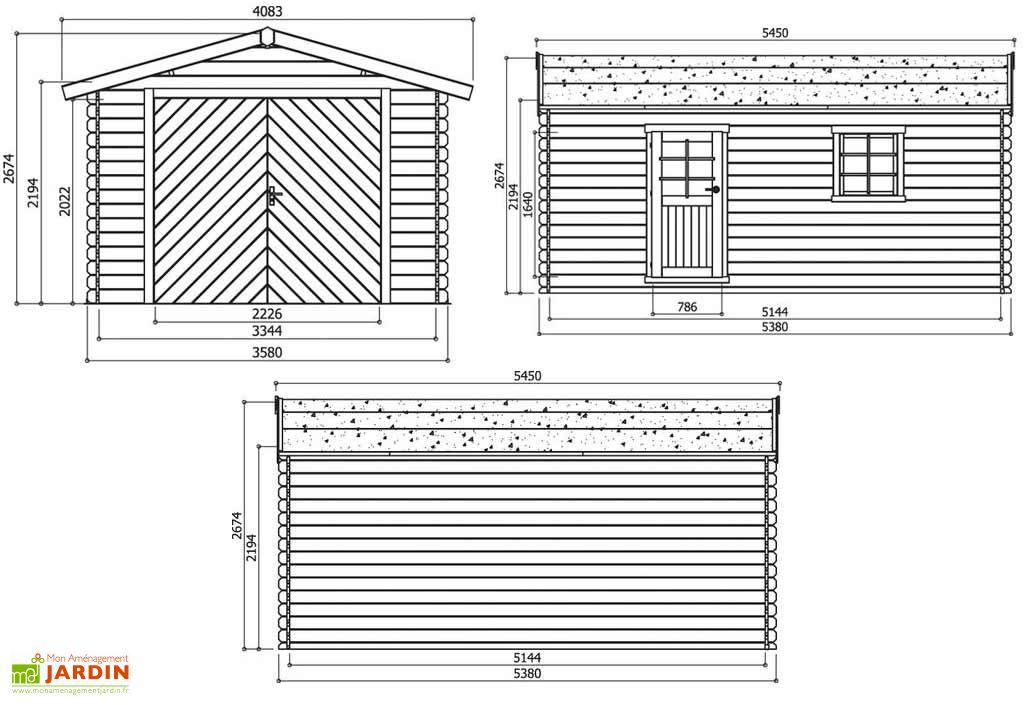 Garage Bois 28 mm (358x538cm) S8942