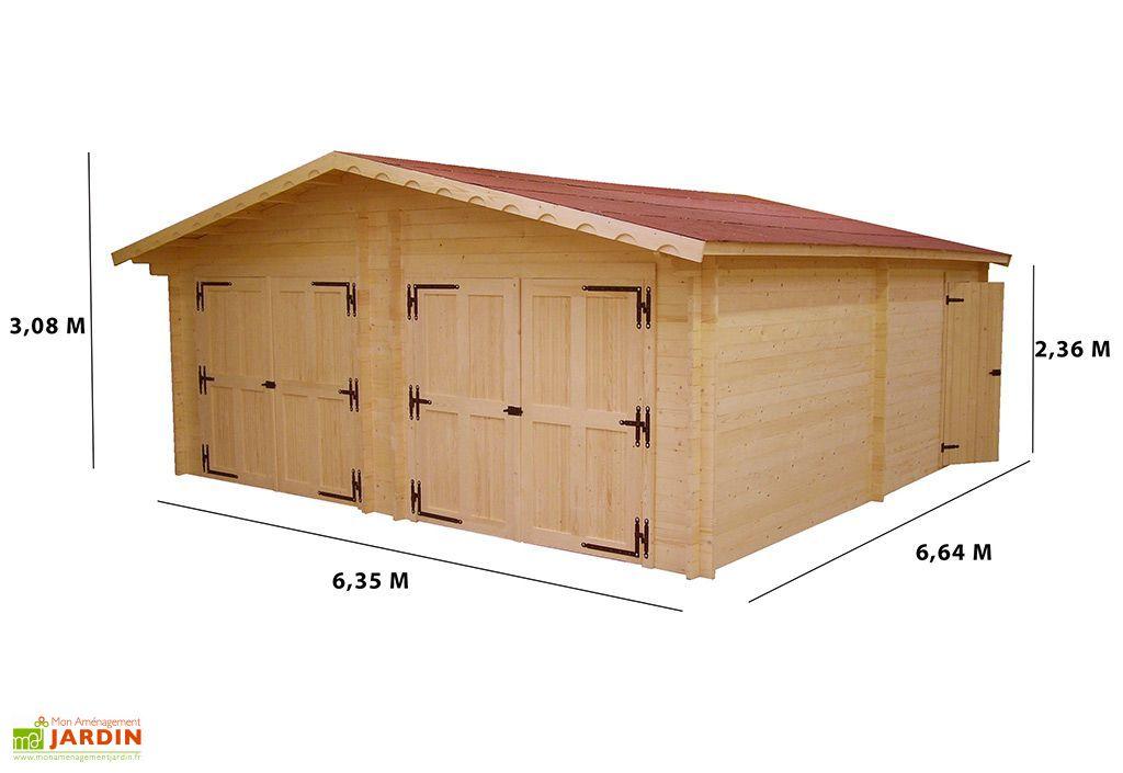 Garage Double en Sapin Massif 60 mm 620x620x308cm