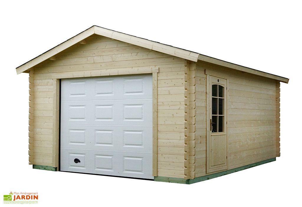 Garage de jardin en bois avec porte sectionnelle Luoman