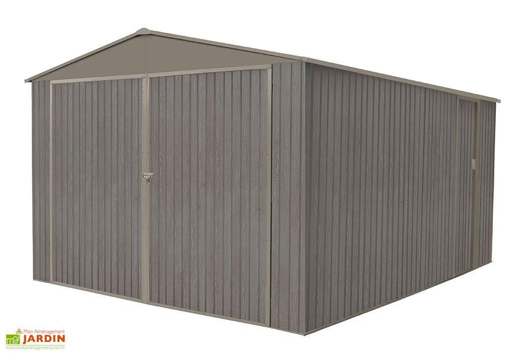 garage en m tal look bois vieilli 17 47 m 1 voiture chal t jardin. Black Bedroom Furniture Sets. Home Design Ideas