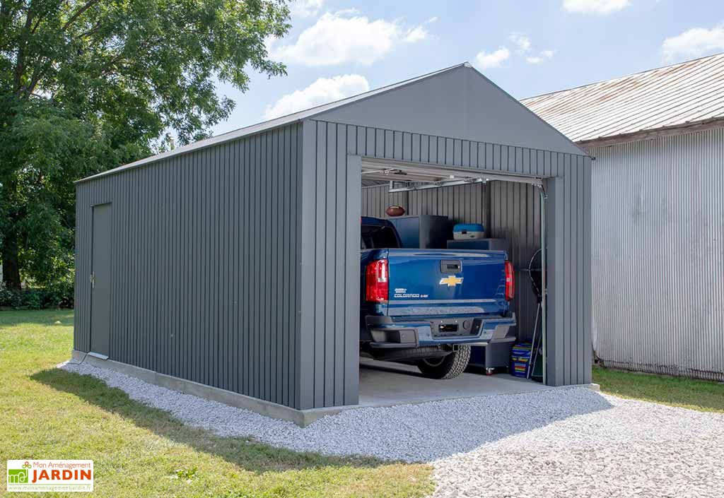 Garage en métal 1 voiture Sojag Everest anthracite 32,6 m²