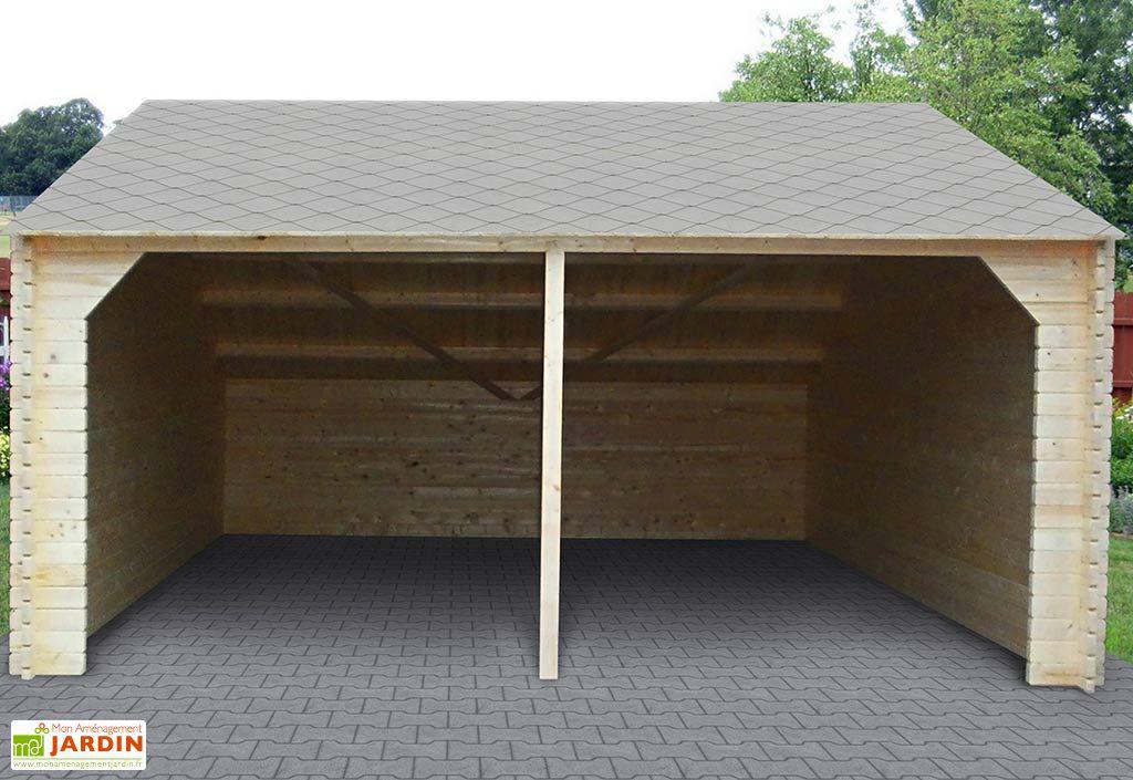 Garage Bois 2 Voitures 45mm Castellet (590x590cm)