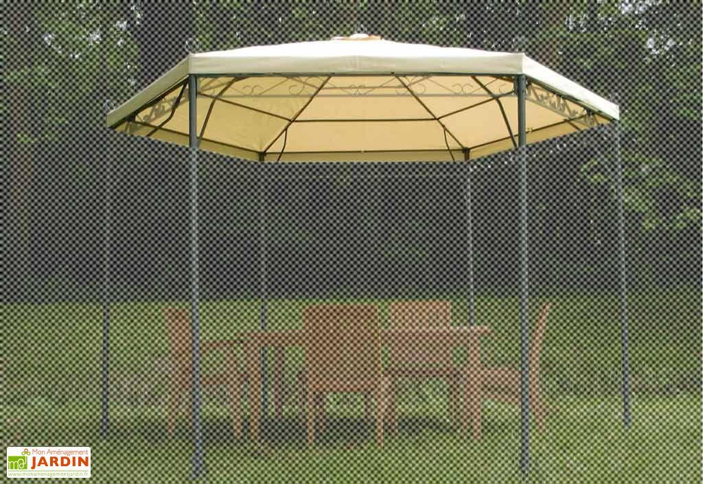 Toile d'ombrage Gloriette Hexagonale dia 3,40 m polyester 220gr/m²