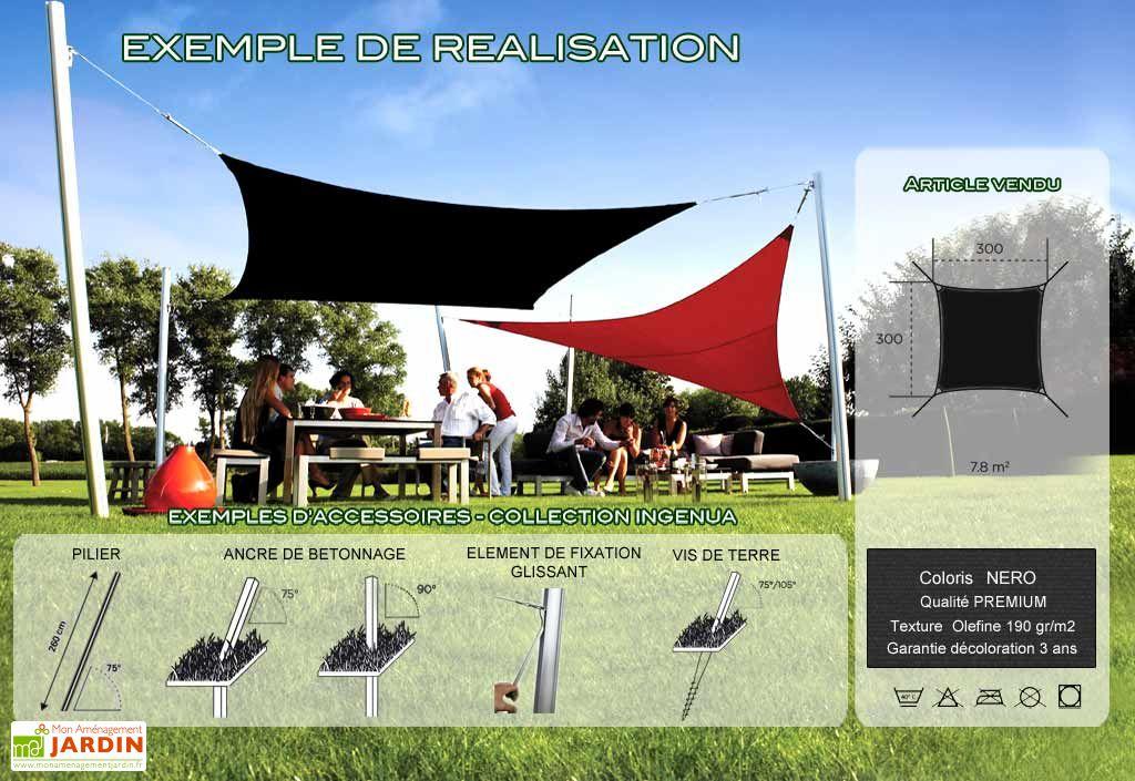 Voile d'Ombrage Ingenua 3x3 Premium Nero
