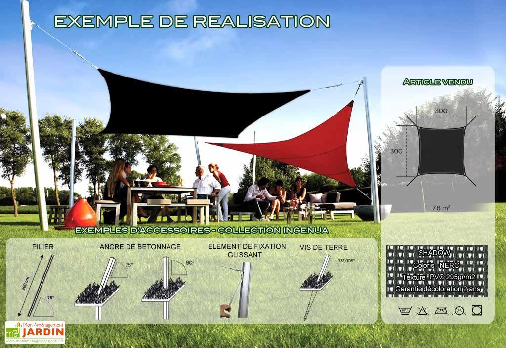 Voile d'Ombrage Ingenua 3x3 Shadow Nero
