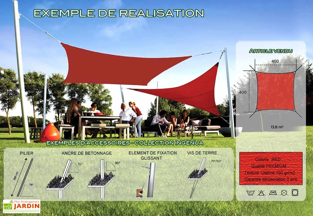 Voile d'Ombrage Ingenua 4x4 Premium Red