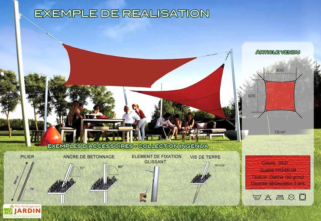 Voile d'Ombrage Ingenua 3x3 Premium Red