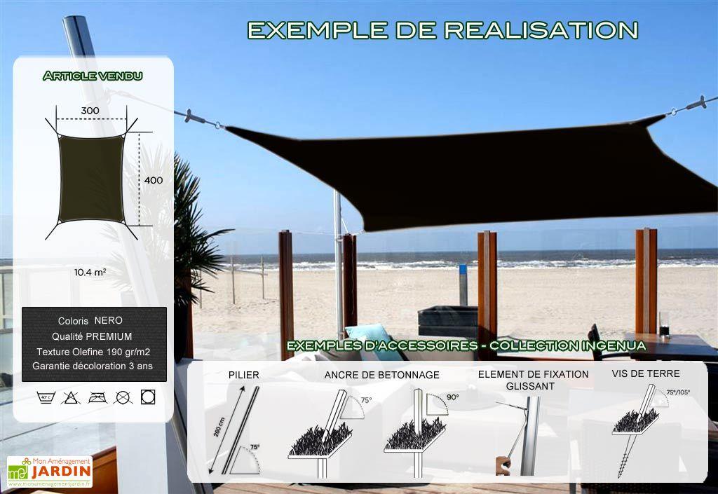 Voile d'Ombrage Ingenua 3x4 Premium Nero