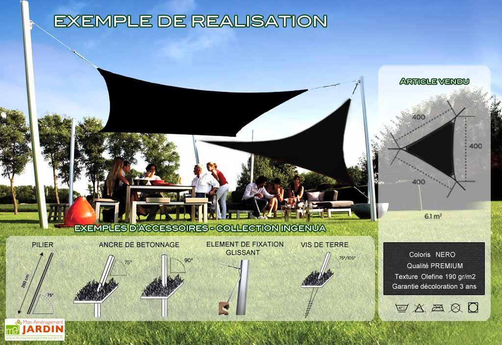 Voile d'Ombrage Ingenua 4x4x4 Premium Nero