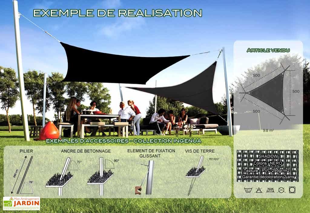 Voile d'Ombrage Ingenua 5x5x5 Shadow Nero