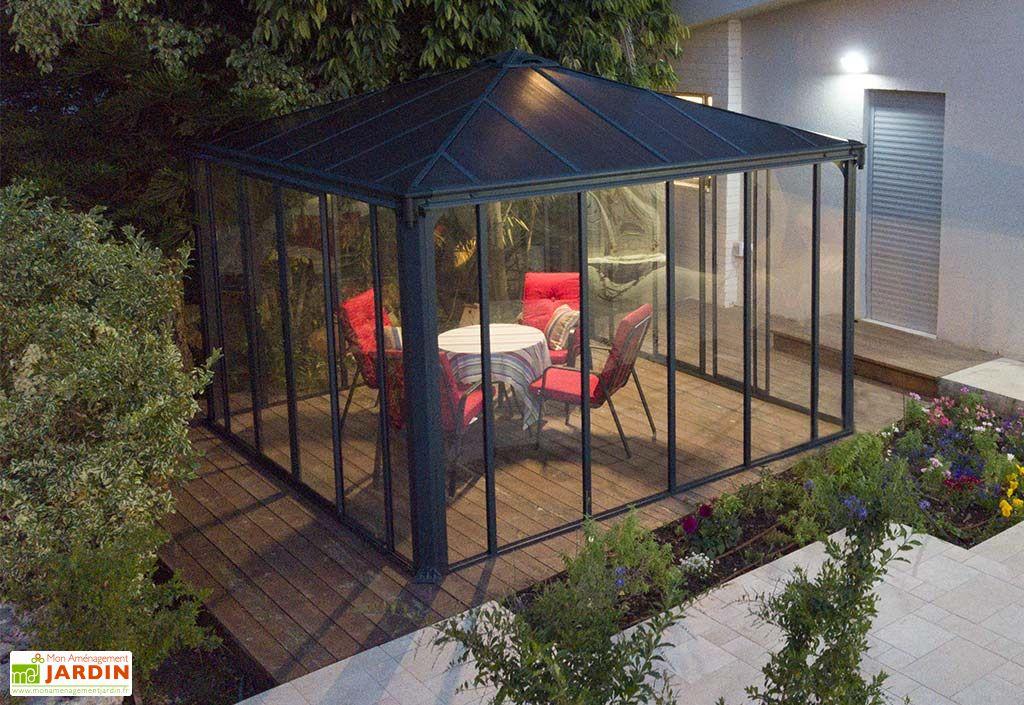 Jardin d'hiver en aluminium gris anthracite LEDRO 3600 Palram