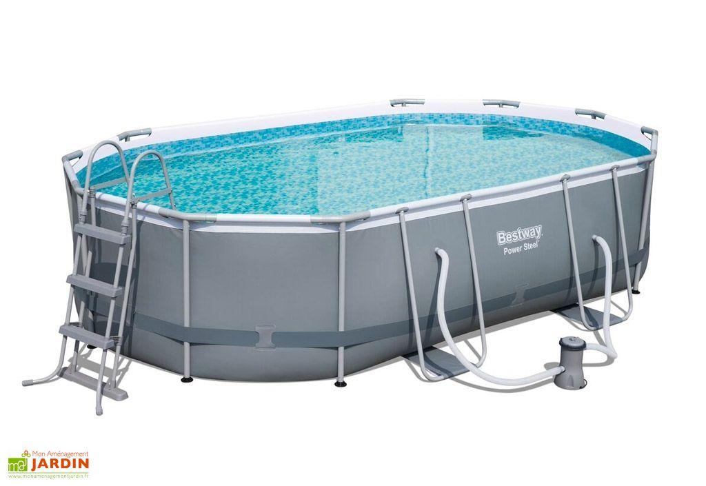 Kit piscine en acier ovale power steel 10949l 488x305x107 for Piscine bestway